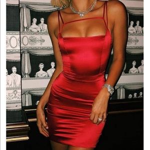 Oh polly red satin dress
